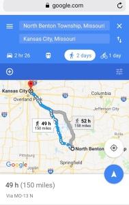 Benton Township, Polk county, Missouri to Kansas City, Missouri
